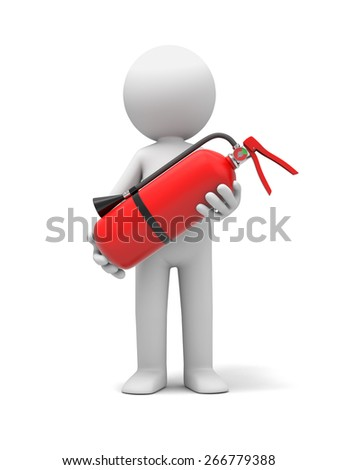 fire/3d people with a extinguisher, 3d image. Isolated white background. - stock photo