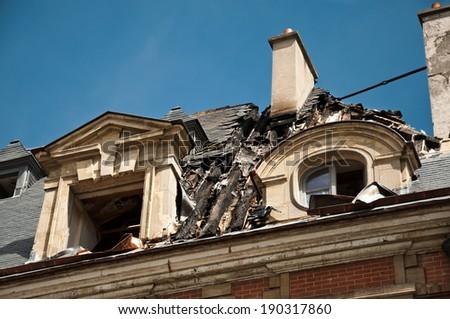 fire damage - stock photo