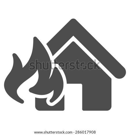 Fire Damage icon from Business Bicolor Set. This flat glyph symbol uses gray color, rounded angles, and isolated on a white background. - stock photo