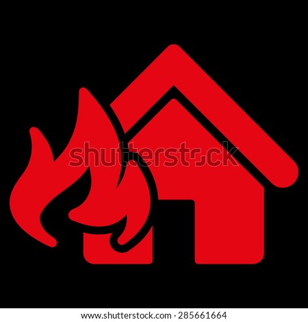 Fire Damage icon from Business Bicolor Set. This flat glyph symbol uses red color, rounded angles, and isolated on a black background. - stock photo