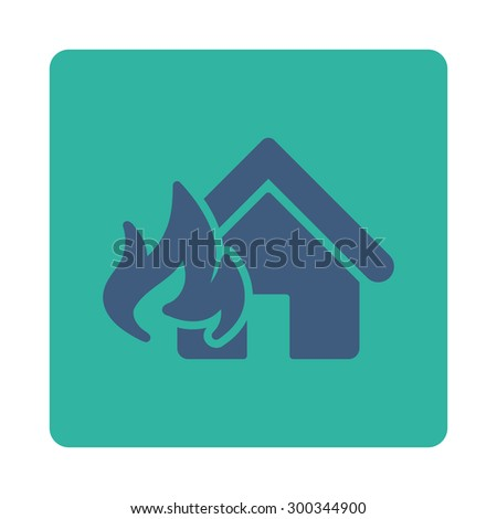 Fire Damage icon. This flat rounded square button uses cobalt and cyan colors and isolated on a white background. - stock photo