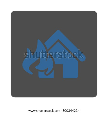 Fire Damage icon. This flat rounded square button uses cobalt and gray colors and isolated on a white background. - stock photo