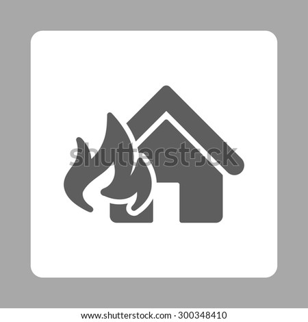 Fire Damage icon. This flat rounded square button uses dark gray and white colors and isolated on a silver background. - stock photo