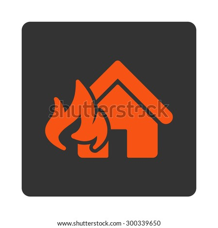 Fire Damage icon. This flat rounded square button uses orange and gray colors and isolated on a white background. - stock photo