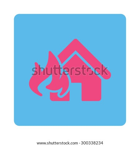 Fire Damage icon. This flat rounded square button uses pink and blue colors and isolated on a white background. - stock photo