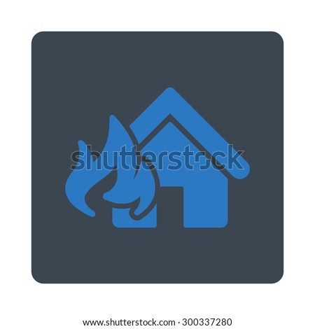 Fire Damage icon. This flat rounded square button uses smooth blue colors and isolated on a white background. - stock photo