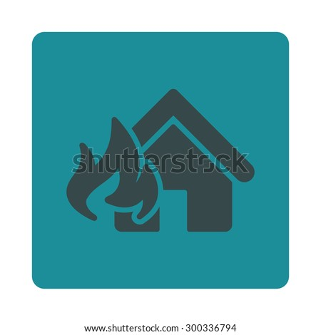 Fire Damage icon. This flat rounded square button uses soft blue colors and isolated on a white background. - stock photo
