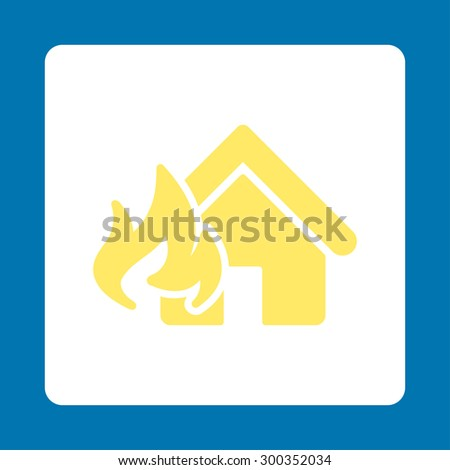 Fire Damage icon. This flat rounded square button uses yellow and white colors and isolated on a blue background. - stock photo