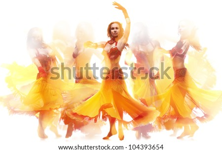 Fire dance - stock photo