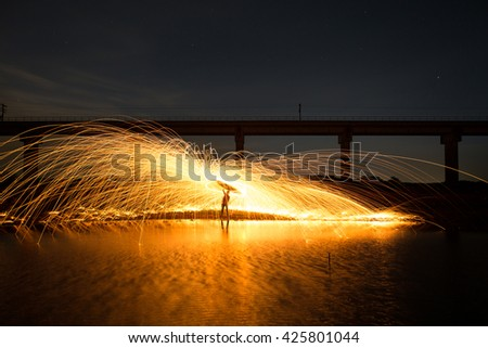 Fire dancing show at night