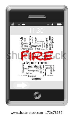 Fire Department Word Cloud Concept of Touchscreen Phone with great terms such as truck, engine, brave and more.