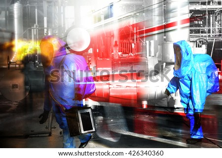 Fire departments and emergency response teams will conduct disaster preparedness drills. These HAZMAT team members are working  to repair the chemical leak . - stock photo