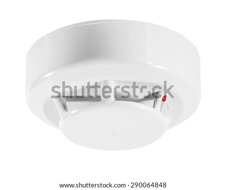 Fire detector isolated on white - stock photo
