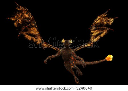 Fire dragon, who burns seemingly from indoors out. - stock photo