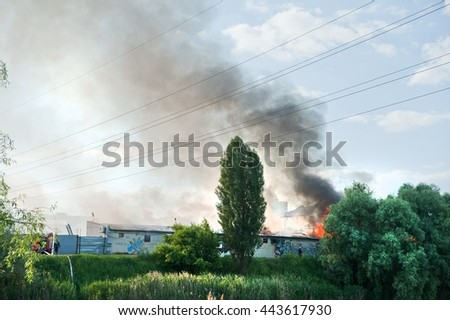 Fire emergency response team extinguish the fire in a warehouse