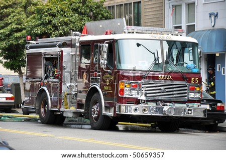 Fire engine from the San Francisco Fire Department - stock photo