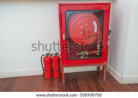 Fire equipment cabinets on the stairs.