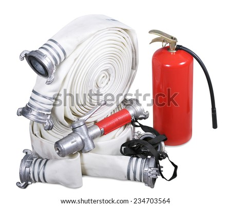 Fire equipment. Isolated on white background - stock photo