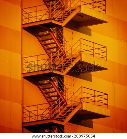 Fire escape building vibrant in Thailand - stock photo