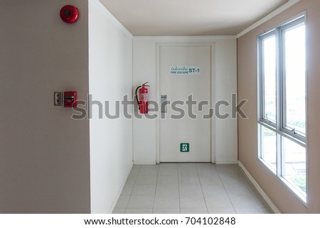 Fire Escape Door at the high building for emergency case.Thai Language Text on the & Fire Escape Plan Stock Images Royalty-Free Images u0026 Vectors ... pezcame.com
