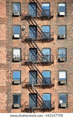 Fire escape, NYC - stock photo