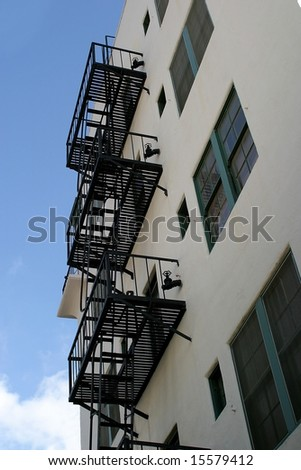 Fire escape stairs at a house in Ventura California