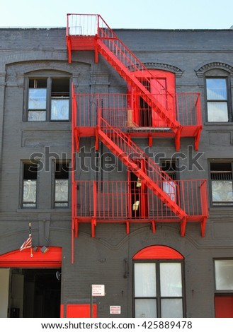 Fire Escape Stairs in New York City - stock photo