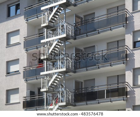 fire escape, urban building