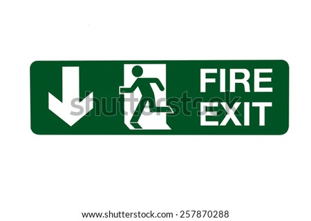 Fire Exit Direction Sign - Below - stock photo
