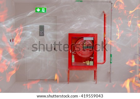 Fire exit door and fire extinguish equipment with flame