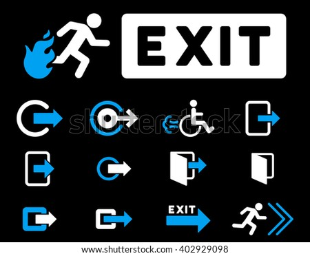 Fire Exit raster icon set. Style is bicolor blue and white flat symbols isolated on a black background.