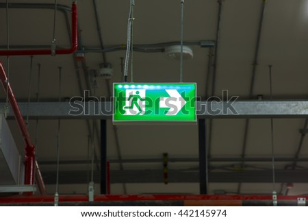 Fire exits in car park area. - stock photo