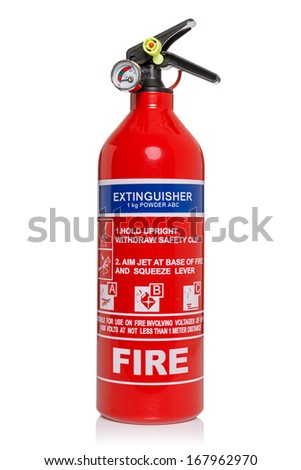 Fire extinguisher isolated on a white background with clipping path - stock photo