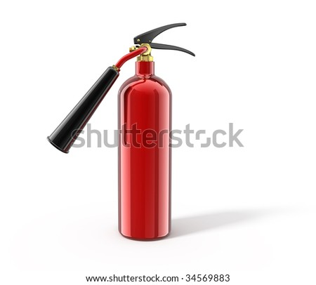 Fire extinguisher isolated on white - 3d render. With clipping path - stock photo
