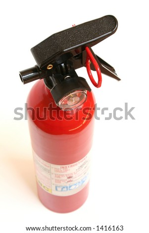 fire extinguisher on a white background - stock photo