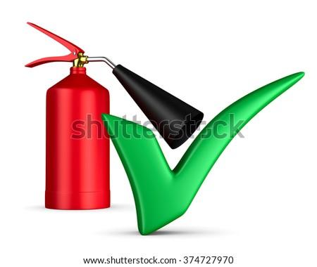 fire extinguisher on white background. Isolated 3D image - stock photo
