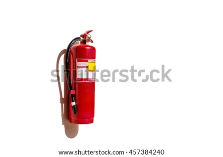 fire extinguisher on white wall - stock photo