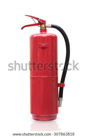 Fire extinguisher red tank isolated white background. - stock photo