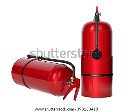 Fire extinguishers isolated on white background. Detailed illustration. 3D rendering