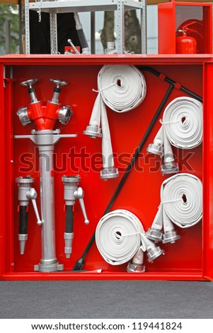 Fire fighter equipment in the red box - stock photo