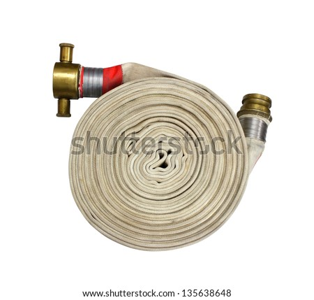 fire fighter hose isolated on the white background - stock photo