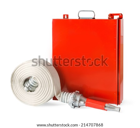 Fire fighter hose with an indoor fire rack isolated on white background. - stock photo