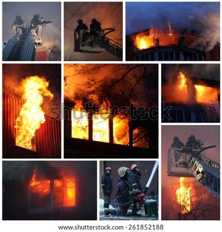 Fire Fighting Collage - stock photo