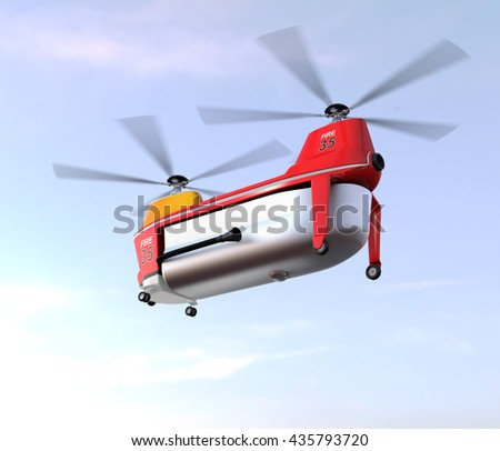 Fire fighting drone flying in the sky. Original concept design. 3D rendering image. - stock photo