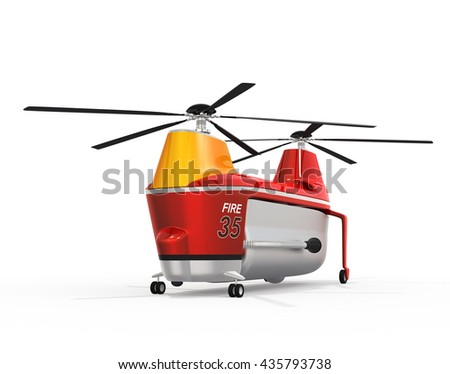 Fire fighting drone on the ground. Original concept design. 3D rendering image. - stock photo