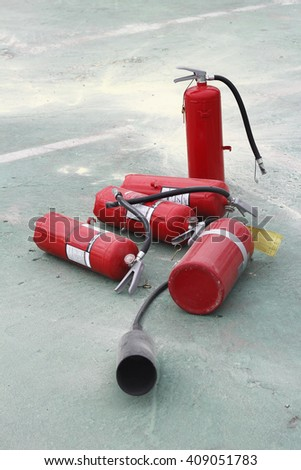 fire fighting training and used extinguisher
