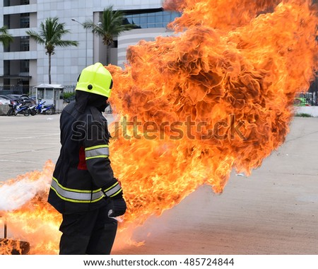 Fire-figther prepare to training course