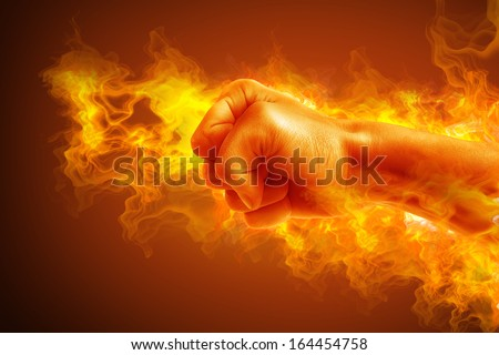 Fire fist. High resolution - stock photo