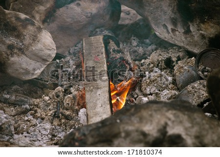Fire Flame burning Outdoor natural moody background tourism vacations concept - stock photo