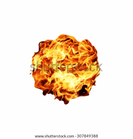 Fire flame isolated on white background - stock photo
